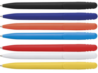 Solid Colour Ballpoint Pen With Matching Coloured Clip